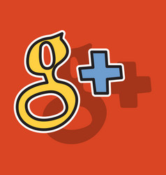 Sticker google plus icons on background vector