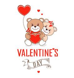 teddy bears with hearts vector image