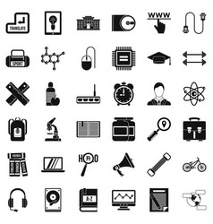 Training icons set simple style vector