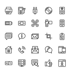 web and mobile ui line icons 16 vector image vector image