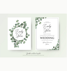 Wedding floral watercolor style double invite card vector