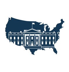 White house on background of the map vector