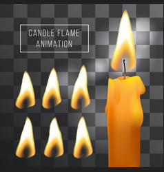 Wax candle flame animation on transparent vector