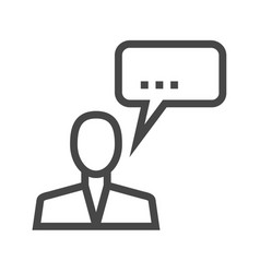 Man talking thin line icon vector
