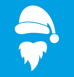 Santa claus hat and beard icon white vector