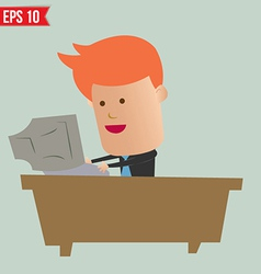 Cartoon business man working with computer - vector