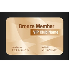 Bronze vip club card vector