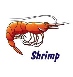 Cartoon shrimp icon or emblem vector image