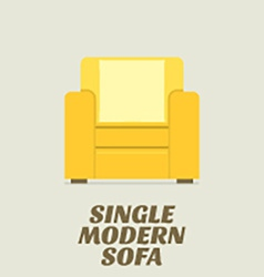 Single modern sofa flat design vector