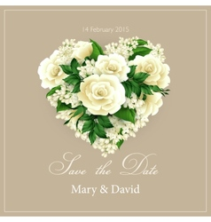 Wedding invitation with heart of flowers vector image