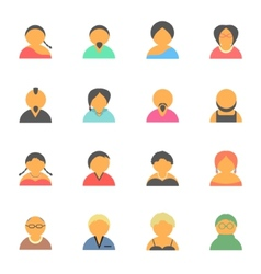 Set of simple face avatar people icons vector