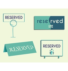 Reservation sign mock up template save water vector