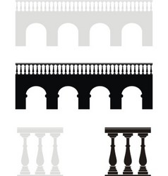 Ancient bridge balustrade vector