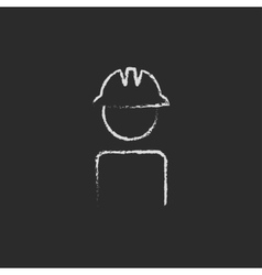 Worker wearing hard hat icon drawn in chalk vector