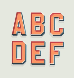 Retro 3d font with shadow vintage alphabet vector
