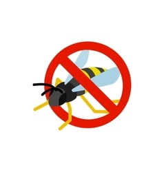 Warning sign with wasp icon isometric 3d style vector