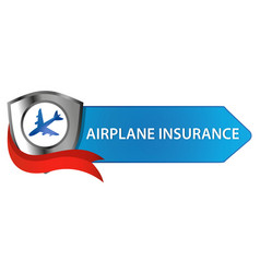 Airplane insurance button vector