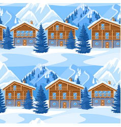 Alpine chalet houses seamless pattern winter vector