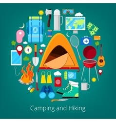 Camping and hiking icons healthy lifestyle vector