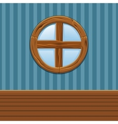 Cartoon wooden round window home interior vector