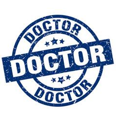 Doctor blue round grunge stamp vector