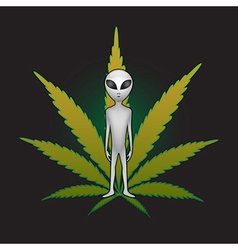 ET and cannabis leaf vector image