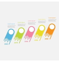 Five step timeline infographic diagonal colorful vector