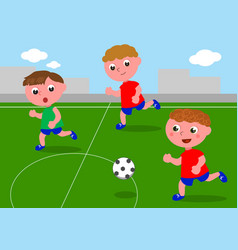Friends playing soccer in football field vector