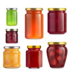 Fruit jam jar glass isolated on white background vector