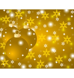 Golden Christmas background with Christmas balls vector image vector image