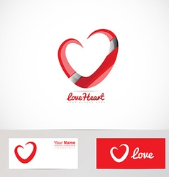 Love red heart logo vector image vector image