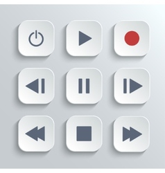 Media player control button ui icon set vector image