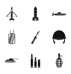 Military defense icons set simple style vector