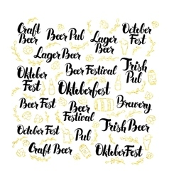 October Beer Fest Lettering Design Set vector image