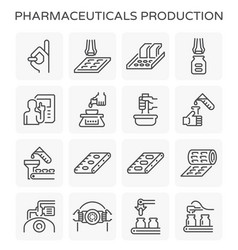Pharmaceutical production icon vector
