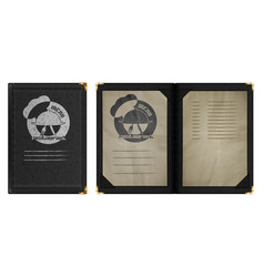 restaurant menu notebook in black leather binding vector image