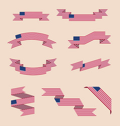 Ribbons or banners in colors of usa flag vector