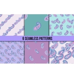 Seamless paisley pattern set vector