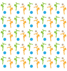 seamless pattern of girls in orange and green vector image vector image