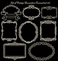 Set of vinatge frames on blackboard vector