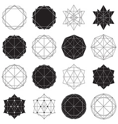 Simple set with black filled and hollow geometric vector image