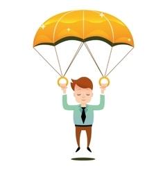 Smiling man fall on a golden parachute vector