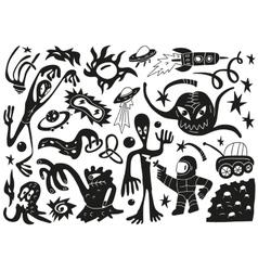 Space invaders aliens - doodles set part 1 vector