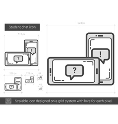 Student chat line icon vector