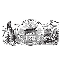 The official state seal of colorado vintage vector