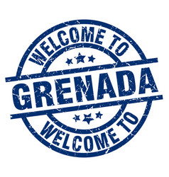 welcome to grenada blue stamp vector image vector image