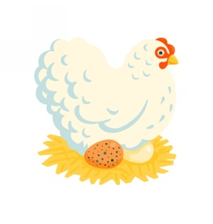 White fluffy chicken on a nest vector
