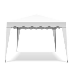 White pop up gazebo canopy folding tent vector