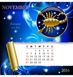 Zodiac Calendar page vector image