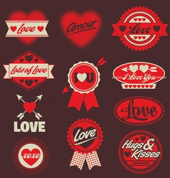 Valentine love labels seals crests vector